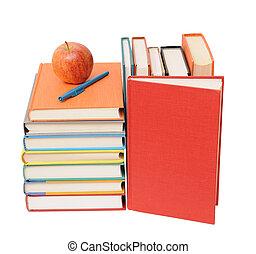 livres, pomme, coloré