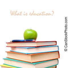 livres, pomme, coloré, pile