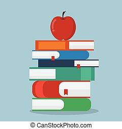 livres, pomme, pile