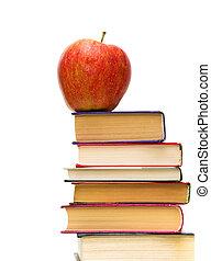 livres, pomme rouge, tas