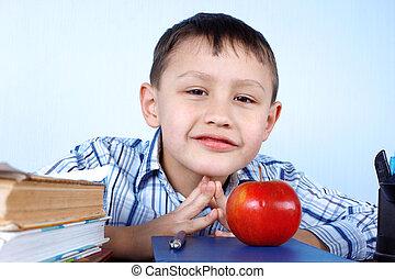 livres, pomme, rouges, écolier