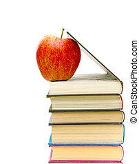 livres, pomme, rouges