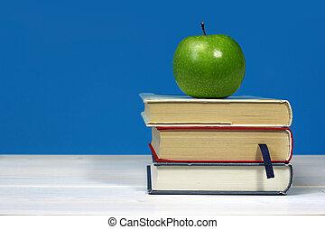 livres, pomme, vert, tas