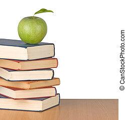 livres, pomme verte