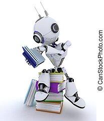 livres, robot, pile