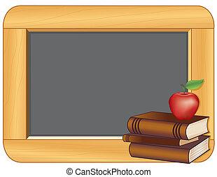 livres, tableau noir, pomme, cadre bois