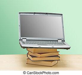 livres, tas, cahier