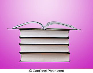 livres, tas, isolé, fond