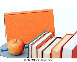 livres, tas, pomme, coloré