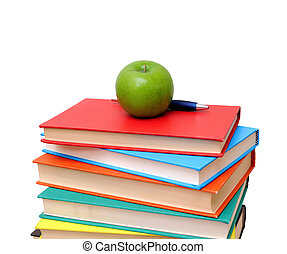 livres, tas, pomme