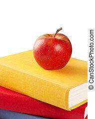 livres, tas, pomme, rouges