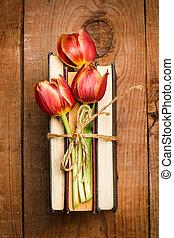 livres, tulipes, trois