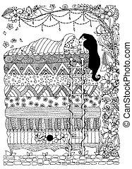 livres, vecteur, zentangl, floral, zenart., adulte, art, girl, dudling, frame., princesse, dormir, doodles, pois, illustration, coloration