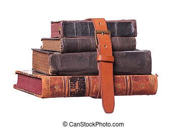 livres, vieux, ceinture