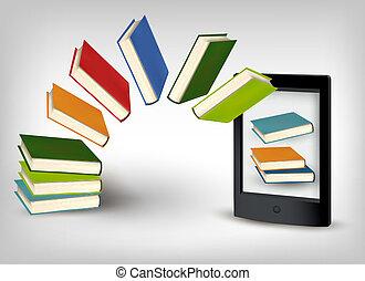 livres, voler, e-livre