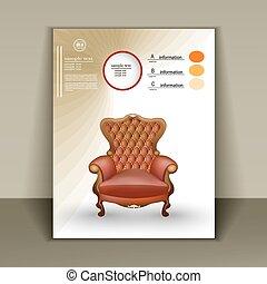 livret, luxueux, conception, chaise, magasin, meubles