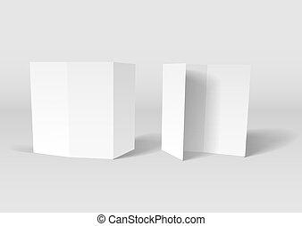 livreto, branca, vetorial, modelo, em branco
