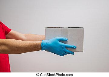 livreur, gloves., boîtes, tenue, protecteur, carton, caoutchouc