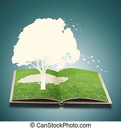 livro, árvore, papel, capim, corte