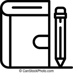 livro, ícone, esboço, caneta, estilo