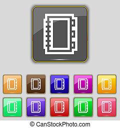 livro, ícone, sinal., jogo, com, onze, colorido, botões, para, seu, local.