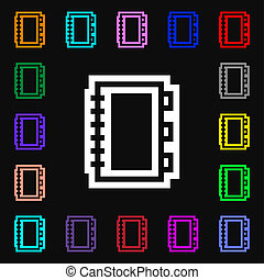 livro, ícone, sinal., lotes, de, coloridos, símbolos, para, seu, design.