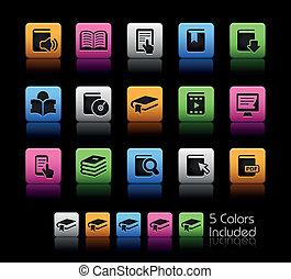 livro, ícones, //, cor, caixa