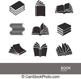 livro, ícones