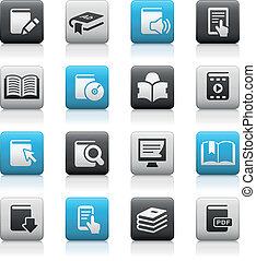 livro, ícones, //, matte, série