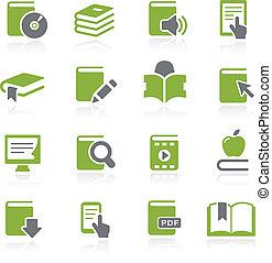 livro, ícones, --, natura, série