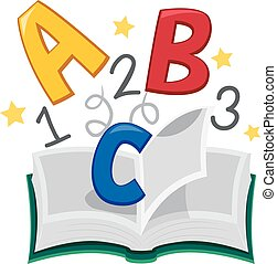 livro, 123, abc