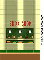 livro, 50s, loja