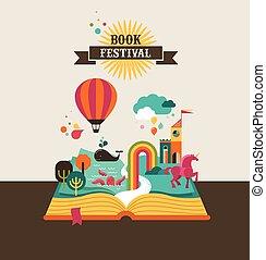 livro aberto, com, conto fada, elementos, e, ícones