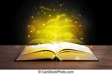 livro aberto, com, dourado, brilho, voando, papel, páginas