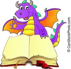 livro aberto, com, feliz, dragão
