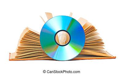 livro aberto, e, dvd, disco, como, símbolos, de, velho novo,...