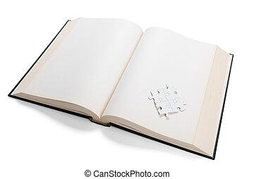 livro aberto, e, quebra-cabeça
