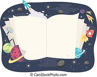 livro aberto, espaço exterior