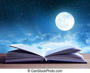 livro aberto, ligado, madeira, plank.