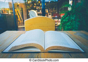 livro aberto, ligado, tabela, em, jardim