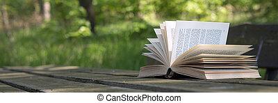 livro aberto, ligado, tabela madeira
