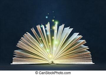 livro aberto, magia, luzes