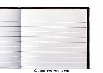 livro aberto, nota, em branco