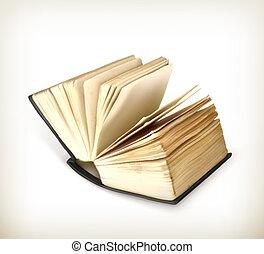 livro aberto, vetorial, ícone