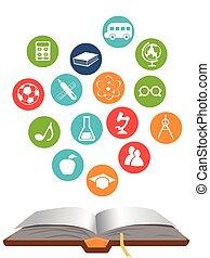 livro, abertos, educação, ícones