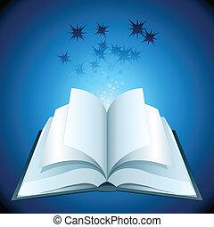 livro, abertos, estrelas