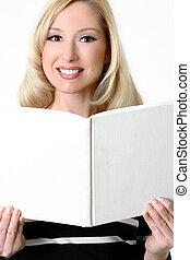 livro, abertos, femininas, em branco