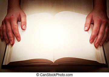 livro, abertos, hands.