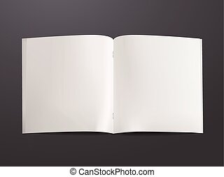 livro, abertos, modelo, em branco