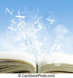 livro, abertos, nuvem
